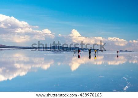 Salar de Uyuni is largest salt flat in the World - Altiplano, Bolivia, South America - stock photo