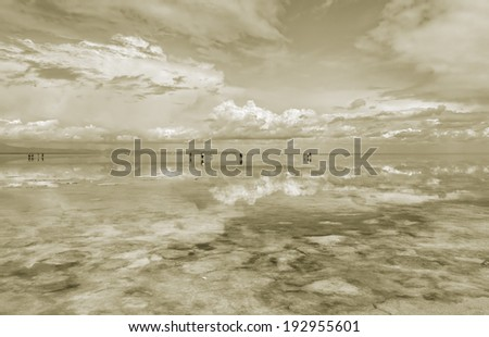 Salar de Uyuni is largest salt flat in the World - Altiplano, Bolivia, South America (stylised retro) - stock photo