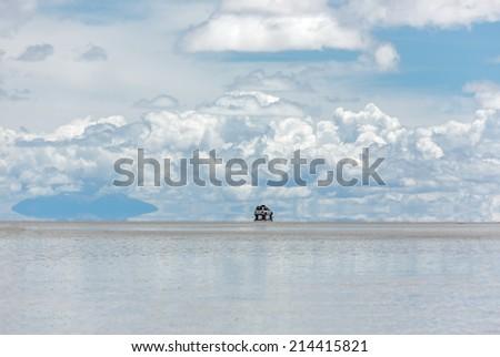 Salar de Uyuni is largest salt flat in the World (UNESCO World Heritage Site) - Altiplano, Bolivia, South America - stock photo