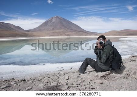Salar de Uyuni, Laguna Verde,Green Lagoon, Bolivia. - stock photo