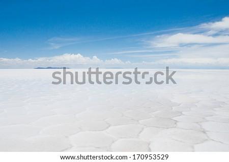 Salar de Uyuni, Salt flat in Bolivia - stock photo