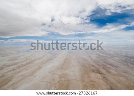 salar de uyuni, salt lake in bolivia - stock photo