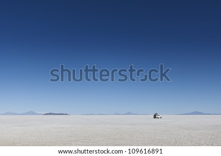 Salar Uyuni in Bolivia with car