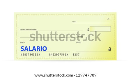 Salary check in spanish illustration design over white