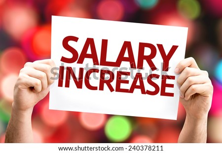 Salary Increase card with colorful background with defocused lights - stock photo