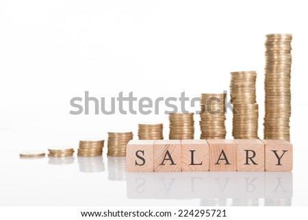 Salary increase chart. Isolated on white background - stock photo