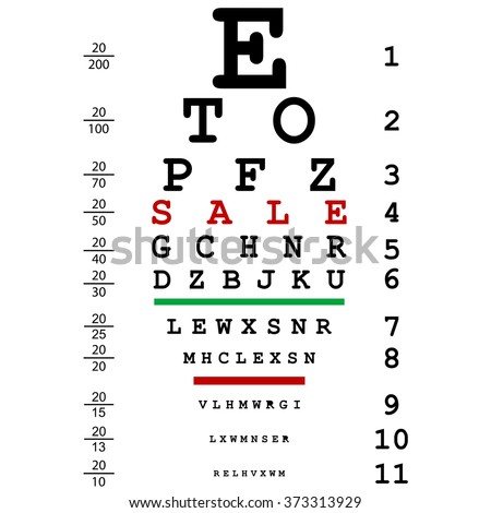 Sale advertising with optical eye test used by doctors