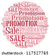 Sale and Promotion info-text graphics and arrangement concept on white background (word cloud) - stock vector