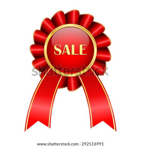 SALE badge. Emblem with red ribbon and golden frame .Isolated on white background. Raster version - stock photo