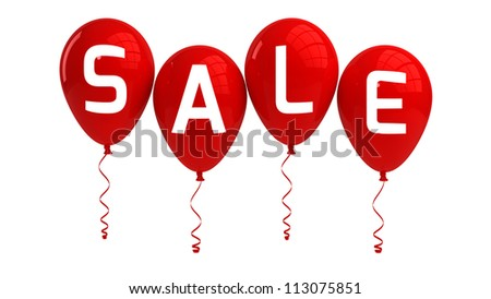 SALE balloons, red, isolated