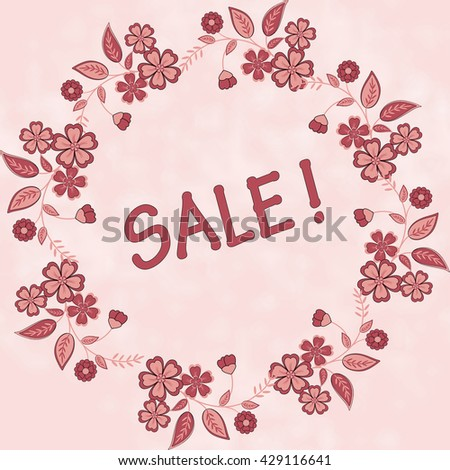 Sale banner.  circular flower pattern.  Summer design. Discounts, paper template.