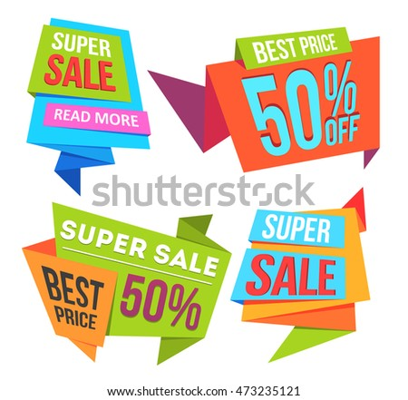Sale banners and ads web template collection. Origami badges, sign, symbol design, for website and mobile website banners. Sale and discounts