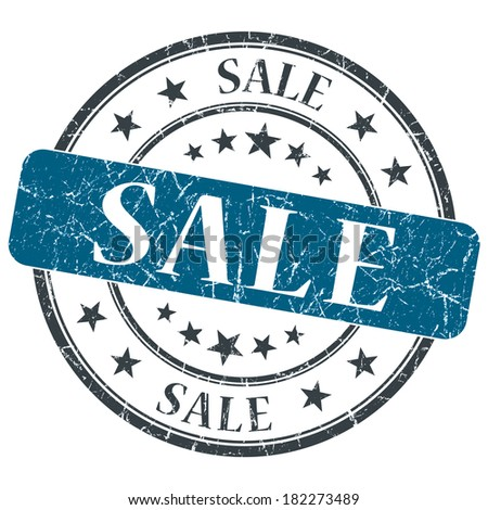 Sale blue grunge round stamp on white background - stock photo
