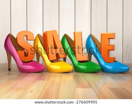 Sale. Colored high heel shoes with text. 3d - stock photo