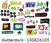 sale colorful doodles - stock vector