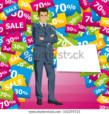 Sale concept. Business man in suit with folded hands.  - stock photo