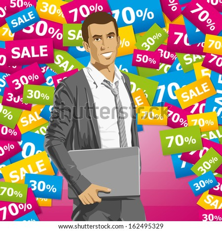 Sale concept. Business man in suit with folded hands