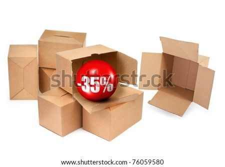 sale concept -35%, cardboard boxes and 3D sale ball, photo does not infringe any copyright - stock photo