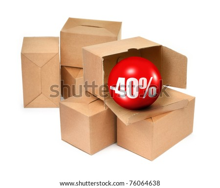 sale concept -40%, cardboard boxes and 3D sale ball, photo does not infringe any copyright - stock photo