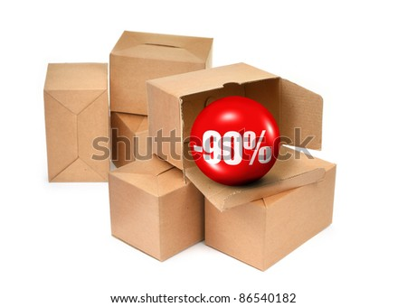 sale concept - cardboard boxes and 3D sale ball, photo does not infringe any copyright - stock photo