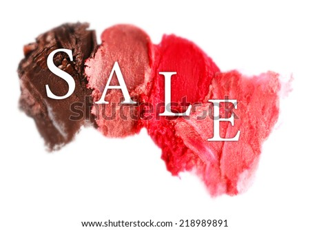 Sale concept. Collection of various lipstick smeared, isolated on white - stock photo