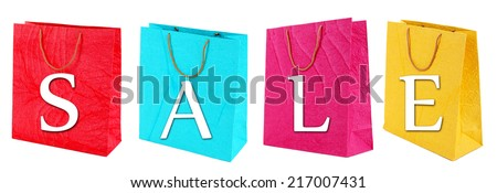 Sale concept. Colorful shopping bags, isolated on white - stock photo