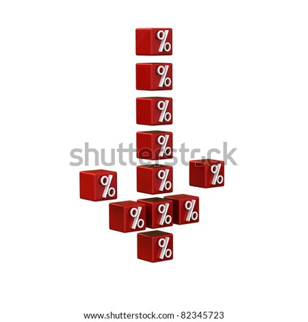 Sale concept - cubes with percent symbol make an arrow down - stock photo