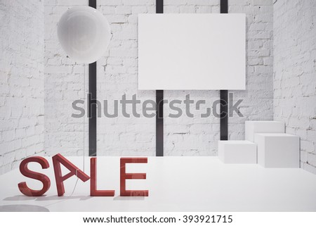 Sale concept in empty white store interior with blank poster and stands. Mock up, 3D Render - stock photo