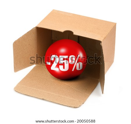 sale concept - open cardboard box and 3D sale ball - stock photo