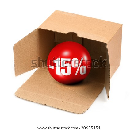 sale concept - open cardboard box and 3D sale ball