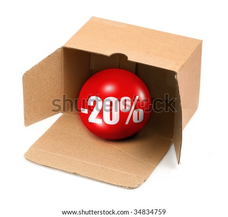 sale concept - open cardboard box and 3D sale ball, photo does not infringe any copyright - stock photo