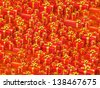 Sale concept - thousands gift boxes on red background - stock photo