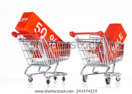 sale concept with shopping carts Isolated on white