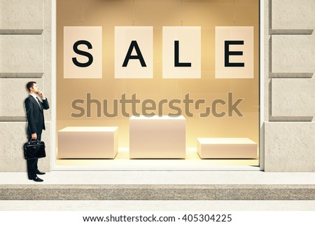 Sale concept with showcase exterior and businessman. Mock up, 3D Rendering - stock photo