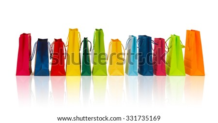 sale, consumerism, advertisement and retail concept - many colorful shopping bags - stock photo