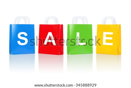 sale, consumerism, advertisement, discount and retail concept - many colorful shopping bags