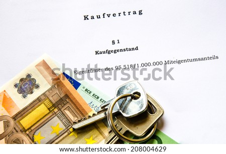Sale contract for  house or apartment with euro bank notes and keys - stock photo
