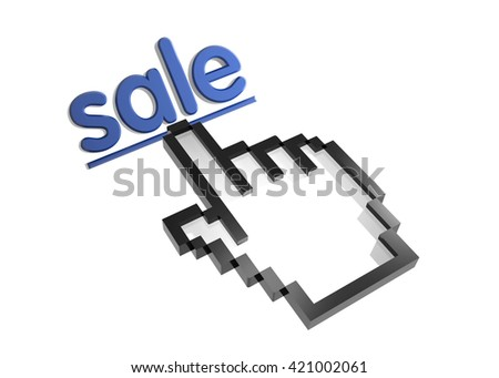 sale. 3d rendered inscription. Link and finger, pointer. Isolated on white - stock photo