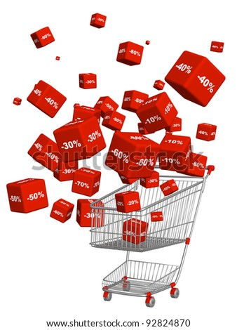 Sale. Goods at a discount. Objects isolated over white - stock photo