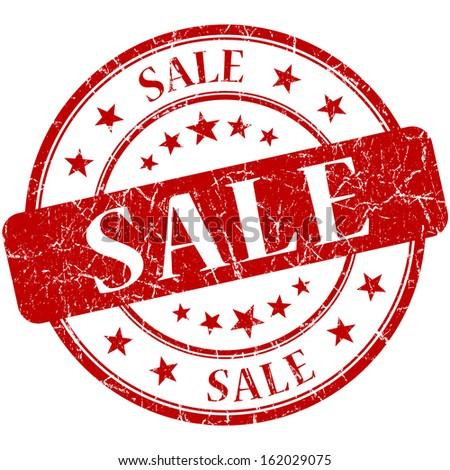 Sale grunge red round stamp - stock photo