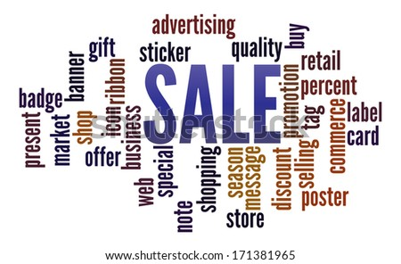 Sale  in word collage - stock photo