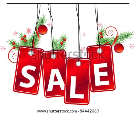 Sale label with christmas decoration. Raster version. - stock photo