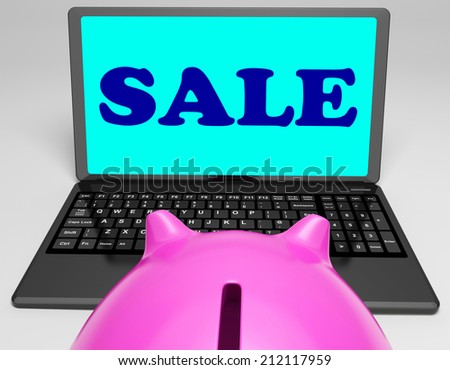 Sale Laptop Showing Web Price Slashed And Bargains - stock photo