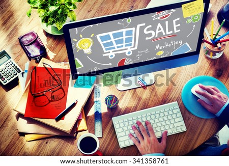 Sale Marketing Analysis Price Tag Branding Vision Share Concept - stock photo