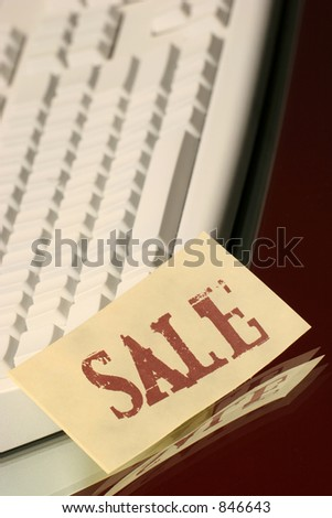 sale message on the keyboard - stock photo