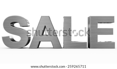 SALE metal - 3d letters isolated on white, front view - stock photo