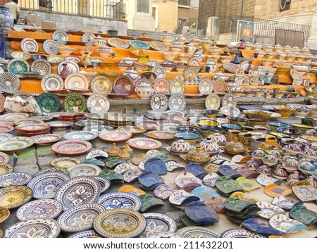 Sale of ceramic, typical of Morocco. - stock photo