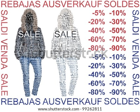 Sale of Clothes. Jacket and Jeans Words of Sales made on different languages.  Group of isolated clothes on white background with cutout words on it. - stock photo