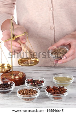 Sale of different  spices - stock photo