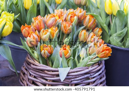 Sale of flowers. Bouquets of orange tulips - stock photo